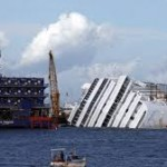 The Costa Concordia on its side.