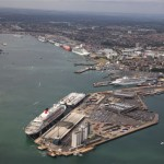 The massive Southampton docks hold several cruise ships