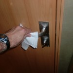 Norovirus barrier - use towels on door knobs